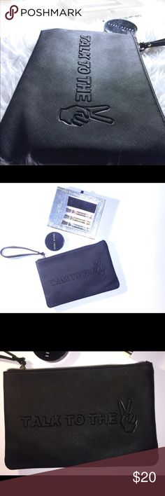 """Large Black Statement Clutch Bag Brand new with tags. Black and made of vegan leather. Large enough to fit your iPad mini. Has a removable wrist strap. Says """"Talk to the ✌🏾(hand)"""". Chic, on trend, lightweight and fashion forward. 💥💥💥Bundle for excellent savings and a free gift! Reasonable offers accepted!💥💥💥 Bags Clutches & Wristlets"""