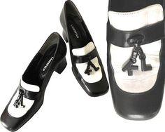 db6455ece34 Vintage 80s 90s 1980s 1990s Karl Lagerfeld Logo Charm Pumps Black and White  Spectator High Heel