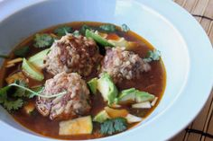 The Italian meatball just met its match. Albondigas, or Mexican meatballs, in a fantastic broth. This might become your favorite soup. Mexican Meatball Soup, Mexican Meatballs, Italian Meatballs, Meatball Recipes, Frozen Vegetables, Veggies, Basic Quiche Recipe, Warm Bean Dip, Creamy White Chicken Chili
