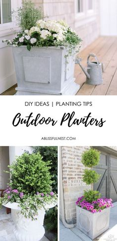Create beautiful outdoor planters with this source guide + tips for what plants to buy. #outdoorplanter #outdoor #frontporch #ABlissfulNest
