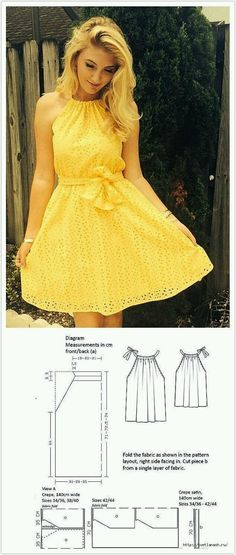 Dress pattern sewing summer 42 New Ideas Dress pattern sewing summer 42 New Ideas Dress Sewing Patterns, Clothing Patterns, Pattern Sewing, Summer Dress Patterns, Fashion Sewing, Diy Fashion, Fashion Advice, Trendy Dresses, Summer Dresses