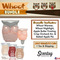 Whoot Bundle - Comes with Whoot Warmer, Whoot Nightlight, and your choice of 3 Scentsy Bars. Order today at www.smellarific.com. Flyer By: Angela O'Hare
