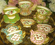 Items similar to 12 Pretty Vintage Teacup and Tea pot Decorated Sugar Cookies on Etsy Teapot Cookies, Coffee Cookies, Fun Cookies, Cupcake Cookies, Frosted Cookies, Cupcakes, Afternoon Tea Wedding, Cookie Wedding Favors, Cookie Frosting