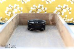 Black leather cuff with stitching...MADE TO by farmgirlpaints