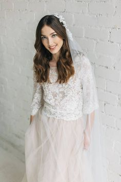 Wedding Top Bridal Separates Nude Lace Top Open Back V