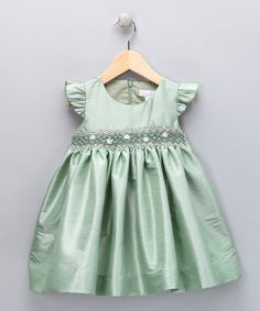 Take a look at this Mint Smocked Daisy Dress - Infant, Toddler & Girls by Fantaisie Kids on today! Little Girl Dresses, Nice Dresses, Girls Dresses, Flower Girl Dresses, Toddler Dress, Infant Toddler, Toddler Girls, Smocking, Toddler Fashion