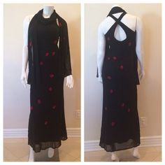 Cache black beaded evening dress Worn only once. Cache dress size 2. sell: 100% nylon ; 100% polyester . Excellent condition, black over bread beads all over dress with red velvet roses. True to size, stretches to size 4. Cache Dresses