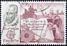 SPAIN - CIRCA 1983: A stamp printed in Spain shows Don Quixote by Miguel de Cervantes, circa 1983 Stock Photo - 11276977