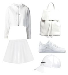 """Tumblr all white outfit ideas"" by nadabakthir on Polyvore featuring RED Valentino, Mansur Gavriel and NIKE"