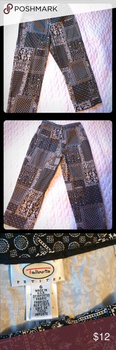Talbots petite size 6 Capris - black/white print Excellent condition Capris from Talbots in size 6 petite.  In excellent condition! Talbots Pants Capris