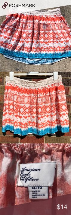 "American Eagle Outfitters summer skirt size XL American Eagle Outfitters Orange, blue, and white skirt perfect for summer. Crocheted at the waistband. 100% Rayon. In very good used condition. No rips, holes, stains, etc. Non-smoking home.  Measurements (approx): 32"" waist, 16"" top to bottom.  BUNDLE SPECIAL: 15% off 3 or more items from my closet! American Eagle Outfitters Skirts"