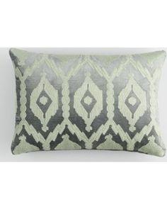 Huge Deal on Frost Green Embroidered Velvet Lumbar Pillow by World Market