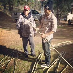 "Martin Sensmeier -Helping to prepare for a traditional game called ""Double Ball"". Working with Cree Elder, Charlie Tailfeathers and my bro Thosh, Both teaching me new stuff!"