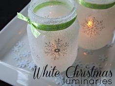 Mason Jar Crafts - DIY Mason Jar Christmas Crafts: White Christmas Snowflake Luminaries | #crafts #masonjars via Put it in a Jar (putitinajar.com)