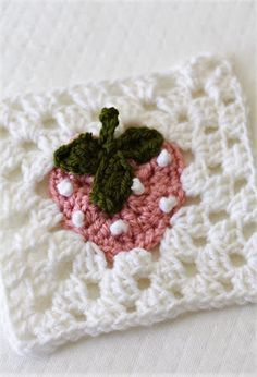 Crochet Strawberry Granny Square: Bake Shop Blanket Series
