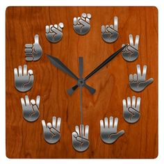 Shop Sign Language -Woodgrain Square Wall Clock created by woodstone. Personalize it with photos & text or purchase as is! Sign Language Chart, Learn Sign Language, Wall Clock Gift, Wall Clocks, Plasma Cutter Art, Cute Surprises, Wall Clock Design, American Sign Language, Christmas Signs
