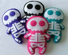 Day of the Dead Skeleton Felt Skull Plush by TheDollCityRocker, $18.00