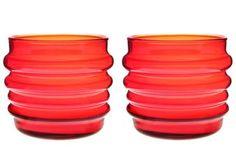 Sukat Makkaralla -lasi - punainen, 2-pakkaus - Marimekko 32€
