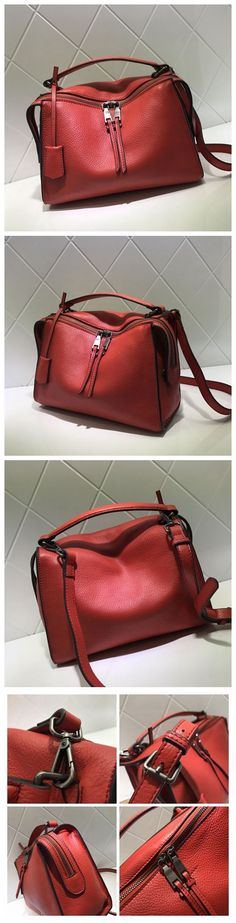 Full Grain Leather Fashion Handbag Shoulder Bag Messenger Bag Leather Bag for Women AM04 Overview: Design: Women Fashion Handbag In Stock: 3-5 days For Making Include: Only Handbag Color: Red, Gray, B