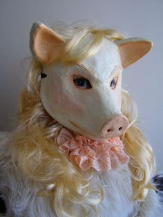 Paper mache mask Animal mask Pig mask Masquerade by EpicFantasy
