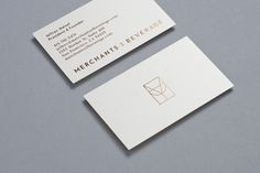 Copper foil business cards by Manual for online wine and spirits gift service Merchants Of Beverage