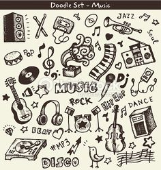 Vector Art : Music Doodles doodles A collection of music-themed doodles. Notebook Drawing, Notebook Doodles, Note Doodles, Doodle Art Journals, Simple Doodles, Music Drawings, Doodle Drawings, Music Doodle, Graffiti Doodles
