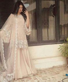 A-Line Wedding Dresses Collections Overview 36 Gorgeou… Pakistani Fashion Party Wear, Pakistani Formal Dresses, Pakistani Wedding Outfits, Pakistani Dress Design, Nikkah Dress, Indian Fashion, Pakistani Sharara, Pakistani Designer Suits, Pakistani Clothing