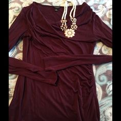 Ann Taylor burgundy cinched top Very flattering and comfy Ann Taylor Tops Blouses