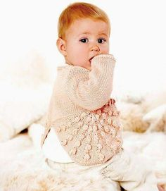 """This stunningly textured little knit looks gorgeous worn with frilly pantaloons or frothy dresses. Cardigan Pattern, Looking Gorgeous, Baby Knitting, Coat, Dresses, Diy, Vestidos, Tricot Baby, Bricolage"