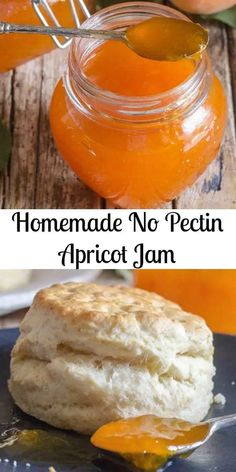 you need are fresh apricots, lemon juice and sugar to make a delicious Homemade Apricot Jam. And No Pectin needed. Freezer Jam Recipes, Canning Recipes, Fruit Recipes, Dessert Recipes, Desserts, Frosting Recipes, Brunch Recipes, Summer Recipes, Sweet Recipes