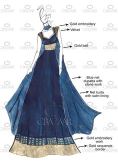 DIY Blue Net Anarkali Suit