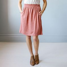 Coral knit skirt with pockets