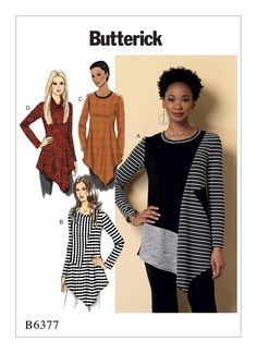 B6377 | Butterick Patterns Pullover tunics have asymmetrical hem, front and back asymmetrical seaming, long sleeves, and contrast variations. A, B, C: Neck band. D: Cowl neck.  For moderate stretch knits only.