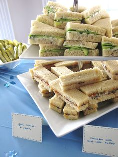 Tea Sandwiches - Smoky Pimiento Cheese - cream cheese - mayo - paprika - shredded smoked cheddar cheese - shredded smoked gouda cheese - jar sun dried tomatoes in oil - Cucumber Tea Sandwiches with Mint Chile Butter - fresh mint - butter - serrano chili - English cucumber - lime - Try Watercress - baby lettuce greens - thinly sliced chicken breast - Pecan Finger Sandwiches - cream cheese - finely chopped pecans - fresh parsley - red pepper jelly