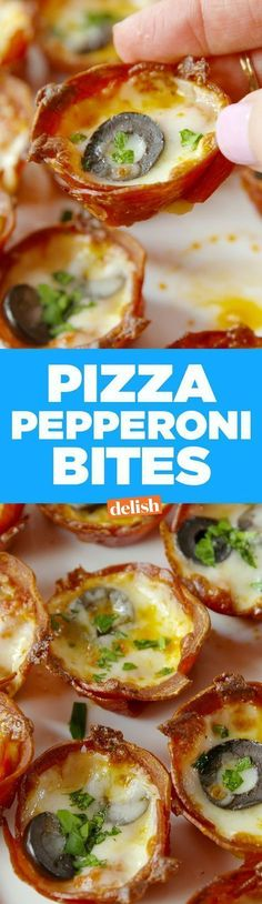 Pizza Pepperoni Bites are the low-carb snack you\'ll actually look forward to eating. Get the recipe on http://Delish.com.