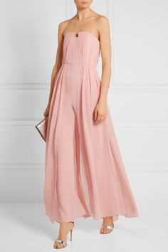 Baby-pink crepe and chiffon Concealed hook and zip fastening at side 100% polyester; lining: 87% polyamide, 13% elastane Dry clean Designer color: Lotus Imported