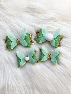 Tinkerbell Hair bow, Tinkerbell Hair Clip, Tinkerbell Bow Headband - Nail Effect Kids Hair Accessories, Wedding Hair Accessories, Disney Hair Bows, Bohemian Wedding Hair, Diy Crafts For Girls, Tinkerbell, Making Hair Bows, Fabric Bows, Girl Hair Bows
