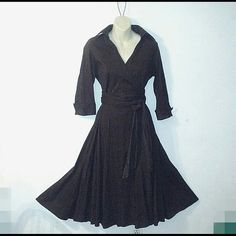 ZARA BASIC CLASSIC WRAP DRESS Classic wrap dress in chocolate brown. The belt is double length and be wrapped several times around. The skirt is full and and long. The material is cotton silk blend. The sleeves are 3/4 and cuffed. Absolutely beautiful! Zara Dresses Long Sleeve