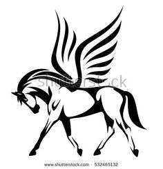 pegasus vector illustration - winged horse side view black and white design