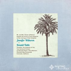 Wedding Invitation Beach Tropical Palm Tree Vintage Shabby Chic- Printable Digital. $15.00, via Etsy.