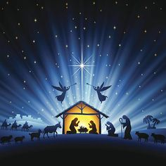 View top-quality illustrations of Holy Night Scene. Find premium, high-resolution illustrative art at Getty Images. Nativity Ornaments, Christmas Nativity Scene, Christmas Scenes, Christmas Wood, Christmas Pictures, Christmas Time, Silhouette Nativité, Nativity Silhouette, Christmas Background