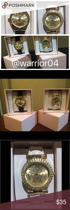Bundle of Fashion Watches NWOT in original boxes Bundle of Fashion Watches NWOT in original boxes (both black and white watches shown) Jewelry