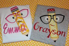 Pencil with glasses Back to School tshirt or by stephstowell, $21.00