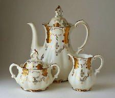 """Porcelana Bavarian Mitterteich 10 """"pote de café, açúcar, conjunto de desnatadeira, Ouro Perfeito"""