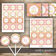 Girl's Winter ONEderland First Birthday Party | Pink and Gold | Party Printables by Oodles and Doodles, OandD