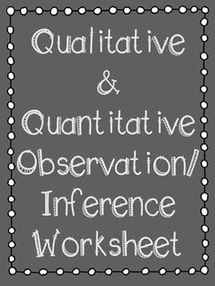 This is a great worksheet for students to complete after discussing qualitative and quantitative observations as well as inferences. I made this side by side so students could put this in their interactive notebooks. I hope you enjoy!