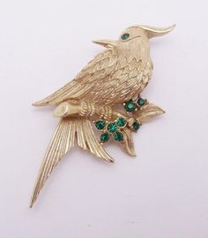 Vintage+BOUCHER+8502P+Bird+Brooch+Brushed+Goldtone+Dark+Green+Rhinestone+Pin+NR+