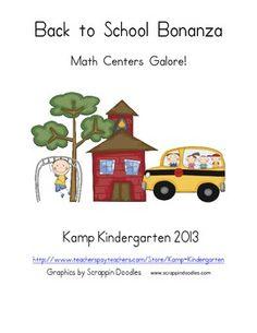 Back to School Bonanza Math Centers Galore!  $  http://www.teacherspayteachers.com/Product/Back-to-School-Bonanza-Math-Centers-Galore-766806