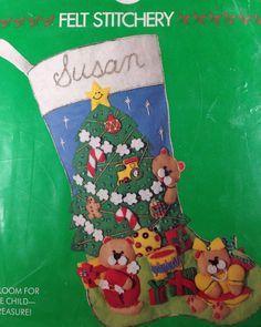Vintage Teddy Bear Christmas Felt Stocking Kit #ColumbiaMinerva
