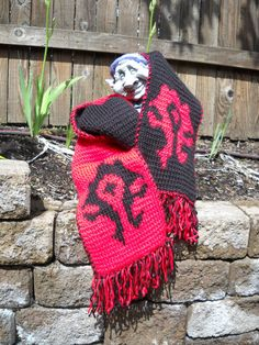 Horde Red and Black Hand Double Knit World of Warcraft Scarf WoW, Fringed. $95.00, via Etsy.